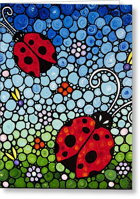 Joyous Ladies Ladybugs Greeting Card