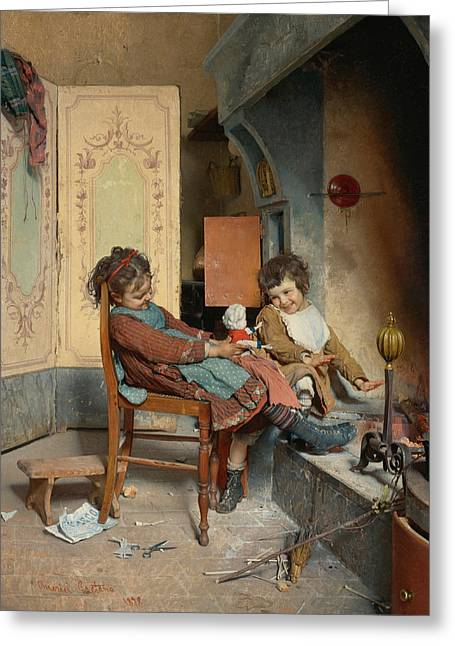 Joys Of Childhood Greeting Card by Gaetano Chierici