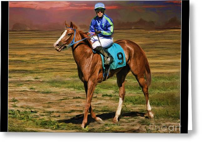 Juan Hermandez On Horse Atticus Ghost Greeting Card