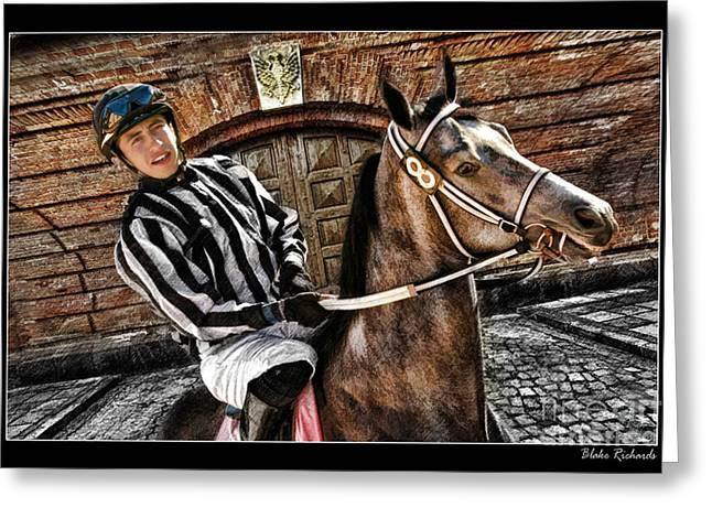 Juan Hermandez On Horse  Play N Win Greeting Card by Blake Richards