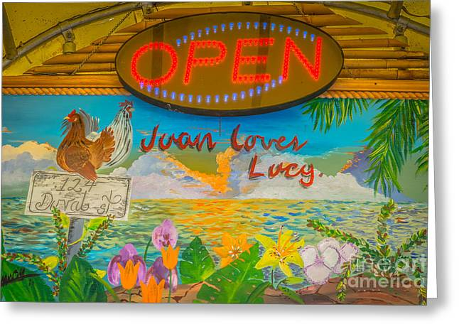 Juan Loves Lucy Key West - Hdr Style Greeting Card by Ian Monk