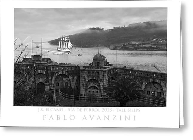 Juan Sebastian Elcano Arrival To The Port Of Ferrol Greeting Card