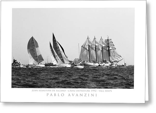Juan Sebastian Elcano Departing The Port Of Cadiz Greeting Card