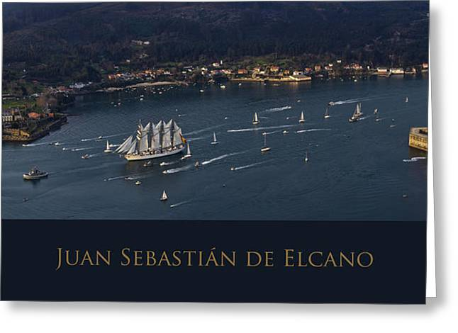 Juan Sebastian Elcano Departing The Port Of Ferrol Greeting Card