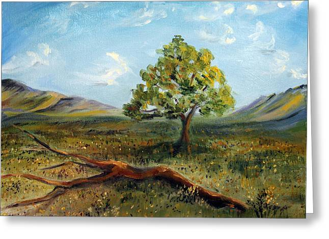 Greeting Card featuring the painting Jubilant Fields by Meaghan Troup