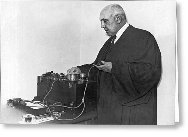 Judge Examines Lie Detector Greeting Card by Underwood Archives