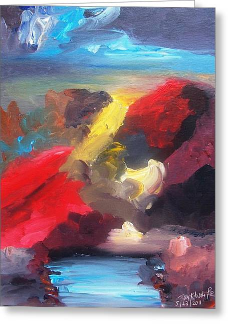 Greeting Card featuring the painting Judgment Day by Ray Khalife