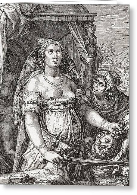 Judith Beheading The Assyrian General Holofernes.  Symbolic Representation Of The Power Of Woman Greeting Card
