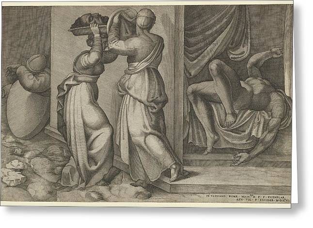 Judith Giving The Head Of Holofernes Greeting Card by Enea Vico