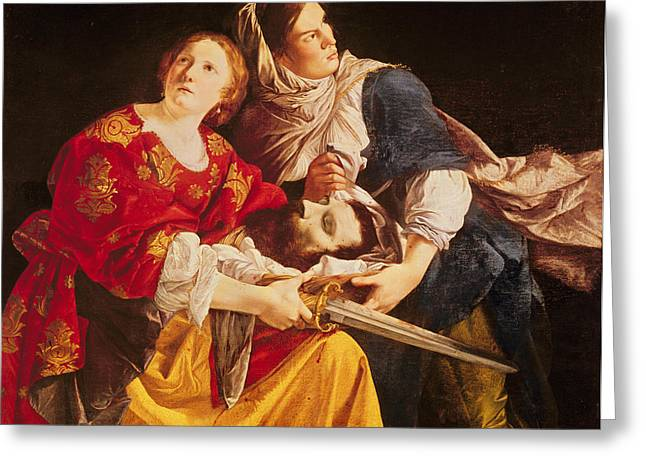 Judith With The Head Of Holofernes Oil On Canvas Greeting Card
