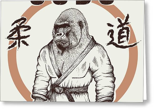 Judoka Gorilla Dressed In Kimono. Hand Greeting Card
