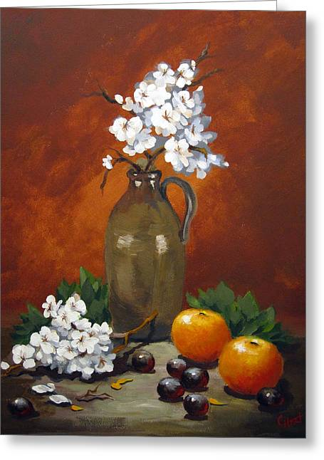 Greeting Card featuring the painting Jug And Blossoms by Carol Hart
