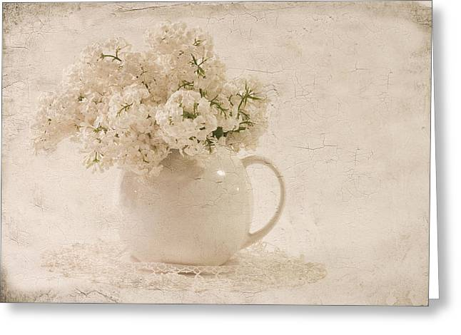 Greeting Card featuring the photograph Jug Of White Lilacs by Sandra Foster