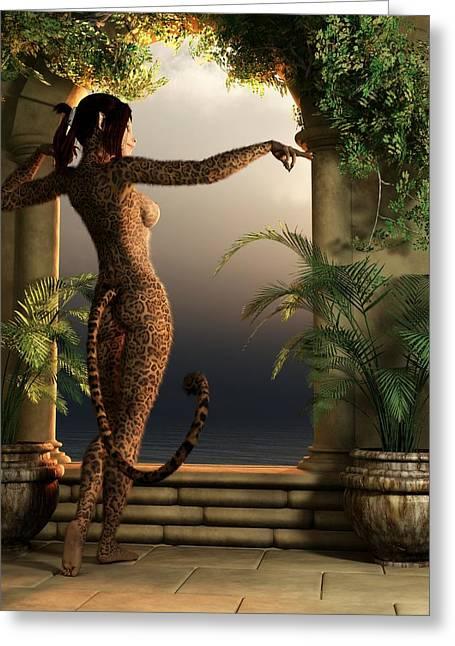 Greeting Card featuring the digital art Juguar Girl by Kaylee Mason