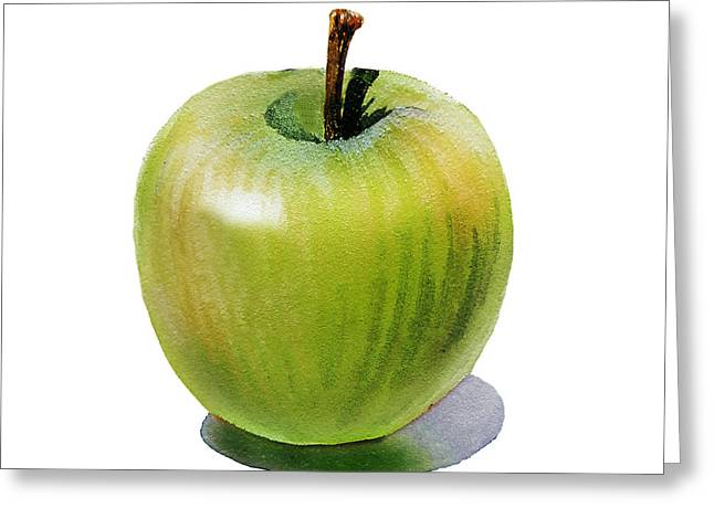 Greeting Card featuring the painting Juicy Green Apple by Irina Sztukowski