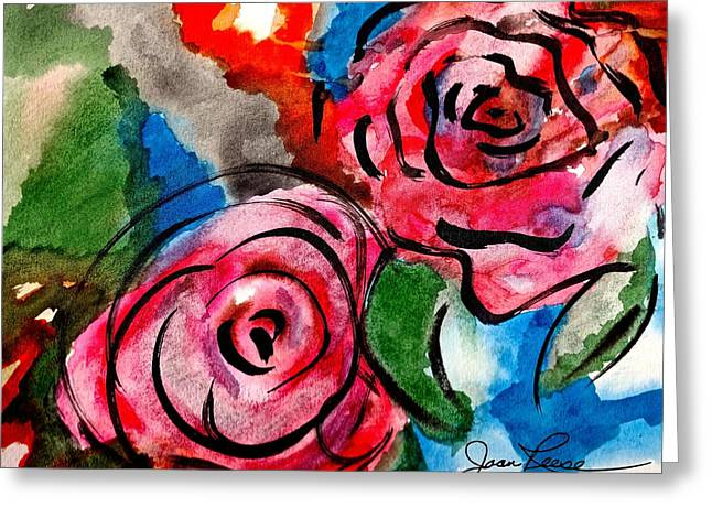 Greeting Card featuring the painting Juicy Red Roses by Joan Reese