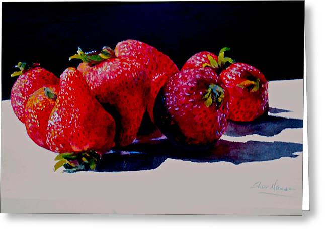 Greeting Card featuring the painting Juicy Strawberries by Sher Nasser