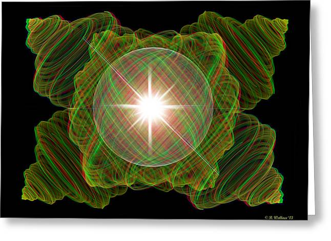 Julia Fractal And Sphere - Use Red-cyan Filtered 3d Glasses Greeting Card by Brian Wallace