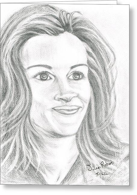Greeting Card featuring the drawing Julia Roberts by Teresa White