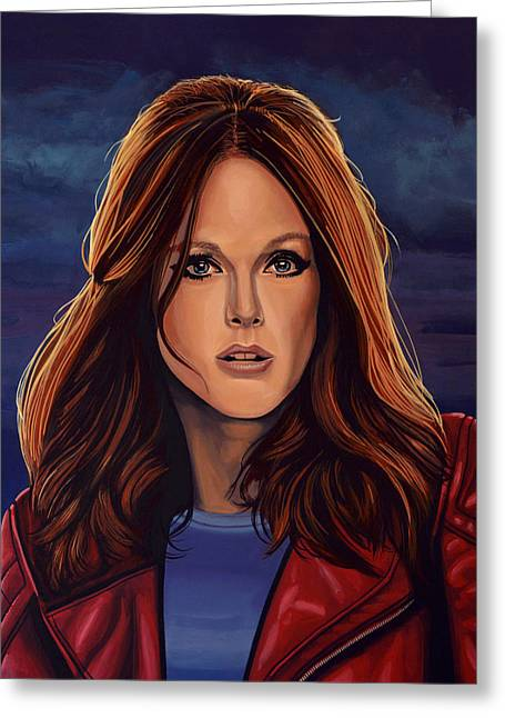 Julianne Moore Greeting Card by Paul Meijering