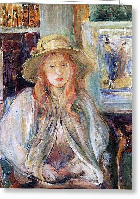 Julie Manet With A Straw Hat Greeting Card by Berthe Morisot
