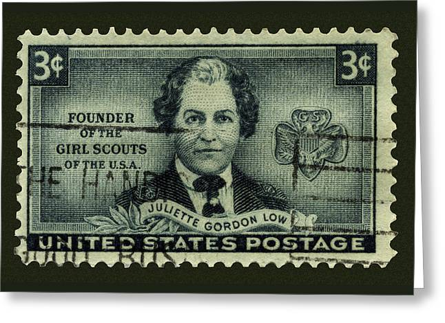 Girl Scouts Founder Juliette Gordon Low Postage Stamp Greeting Card by Phil Cardamone