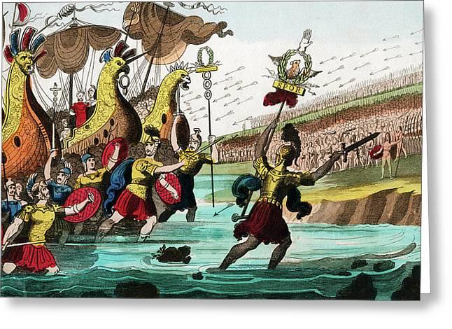 Julius Caesar And Roman Troop Ships Greeting Card