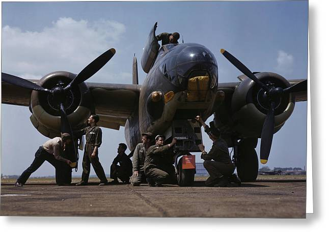 July 1942 - Servicing An A-20 Bomber Greeting Card