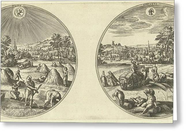 July And August, Adriaen Collaert, Hans Bol Greeting Card by Adriaen Collaert And Hans Bol And Hans Van Luyck