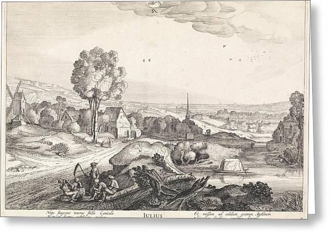 July, Jan Van De Velde II Greeting Card by Jan Van De Velde (ii) And Claes Jansz. Visscher (ii)