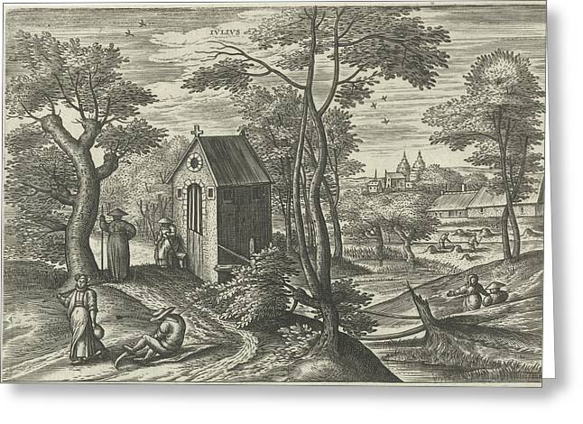July, Julius Goltzius, Gillis Mostaert Greeting Card by Julius Goltzius And Gillis Mostaert (i) And Hans Van Luyck