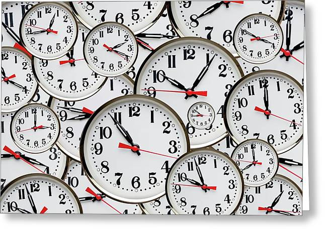 Jumbled Clock Times Greeting Card