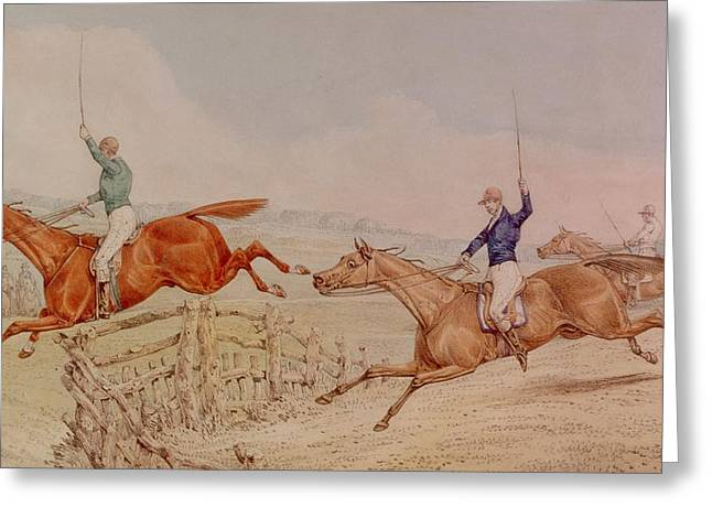 Jumping A Fence Greeting Card by Henry Thomas Alken