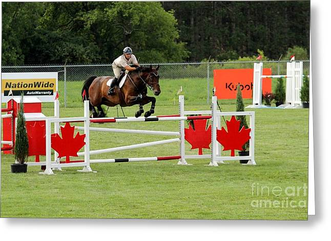 Jumping Canadian Fence Greeting Card