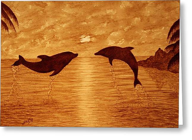 Jumping Dolphins At Sunset Greeting Card by Georgeta  Blanaru