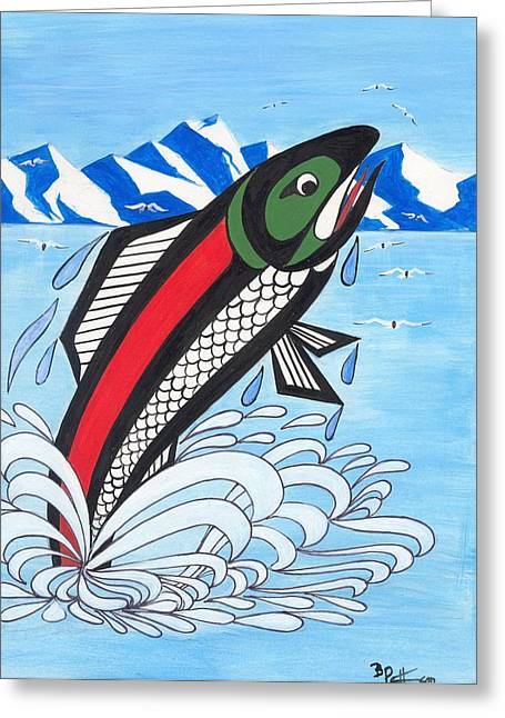 Jumping Silver Salmon Greeting Card by Bob Patterson
