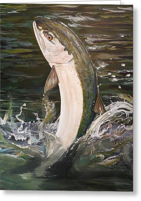 Jumping Steelhead Greeting Card
