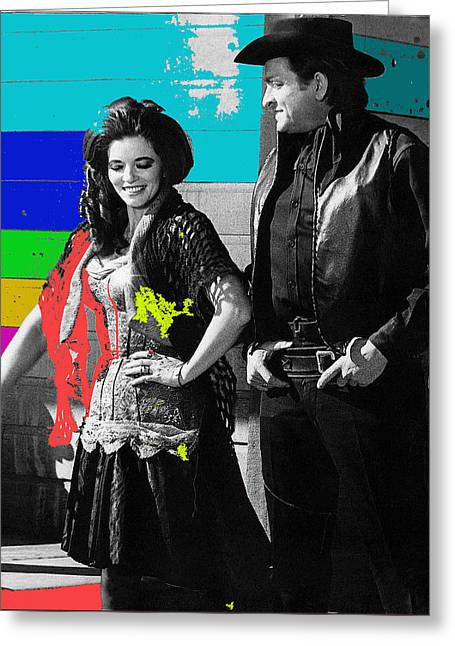 Greeting Card featuring the photograph June Carter Cash Johnny Cash In Costume Old Tucson Az 1971-2008 by David Lee Guss