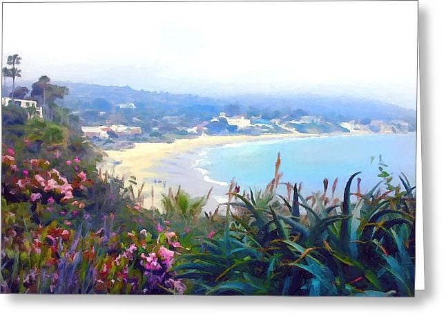 June Gloom Morning At Laguna Beach Coast Greeting Card by Elaine Plesser