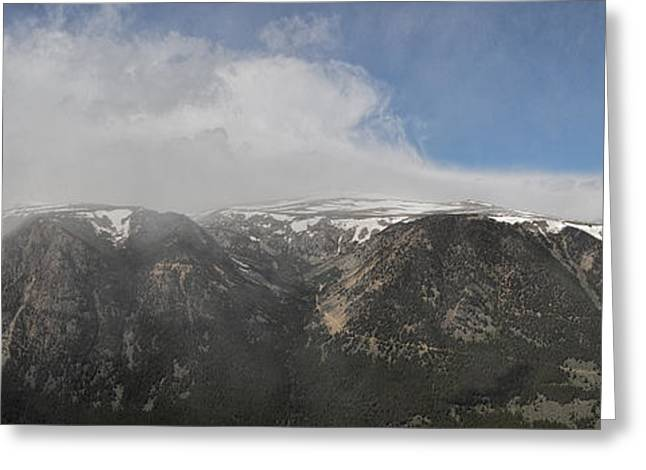 June Snow Squall Coming Down The Valley Greeting Card