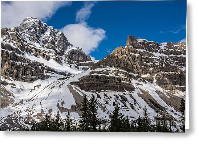 June Sun On Snow-capped Canadian Rockies Greeting Card
