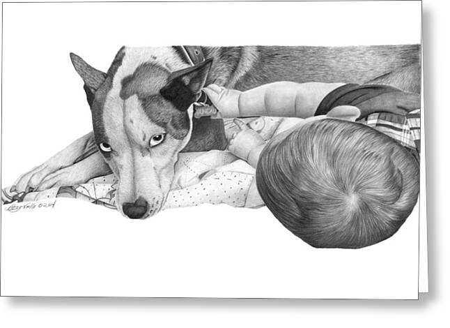 Greeting Card featuring the drawing Juneau And James -031 by Abbey Noelle