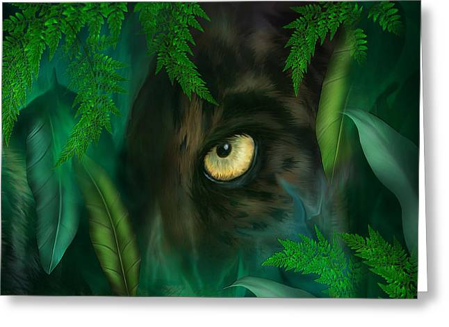 Jungle Eyes - Panther Greeting Card by Carol Cavalaris
