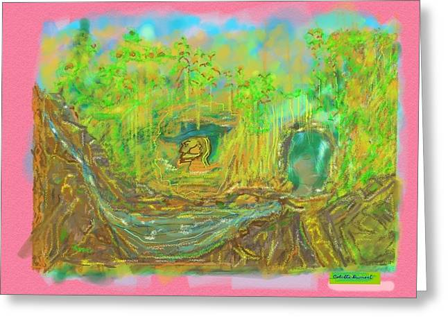 Jungle Heads Digital Painting Greeting Card by Colette Dumont
