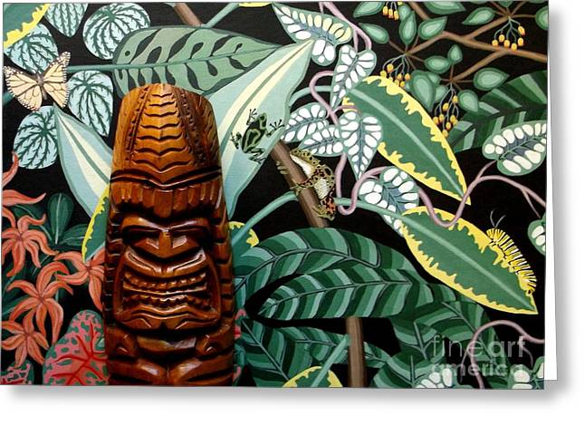 Jungle O Tiki Greeting Card by Anthony Morris