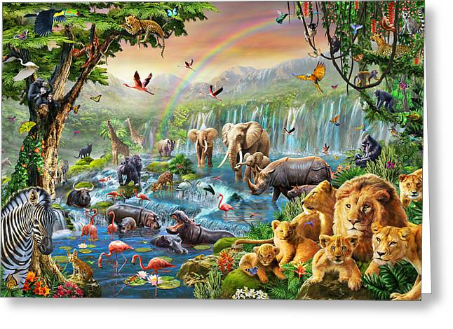 Jungle River Greeting Card by Adrian Chesterman