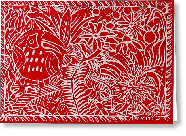 Jungle Scene With Toucan Red On White Greeting Card