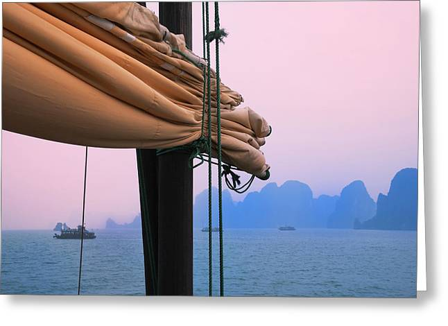 Junk Boats And Karst Islands In Halong Greeting Card by Keren Su