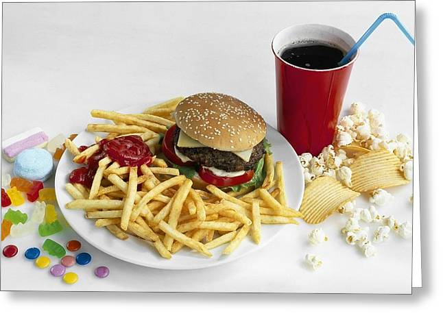 Junk Food Greeting Card by Science Photo Library