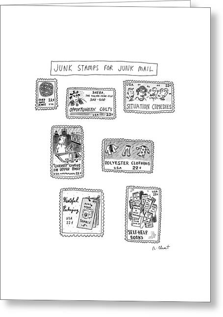 Junk Stamps For Junk Mail Greeting Card by Roz Chast